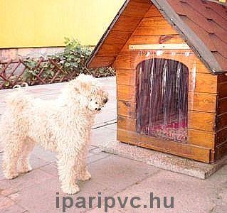 Kutyaajtó, átlátszó PVC szalagból